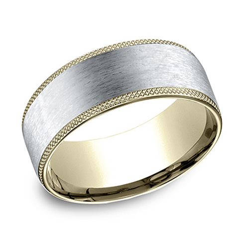 14k Two Tone Gold 8mm Wedding Band with Knurled Edges