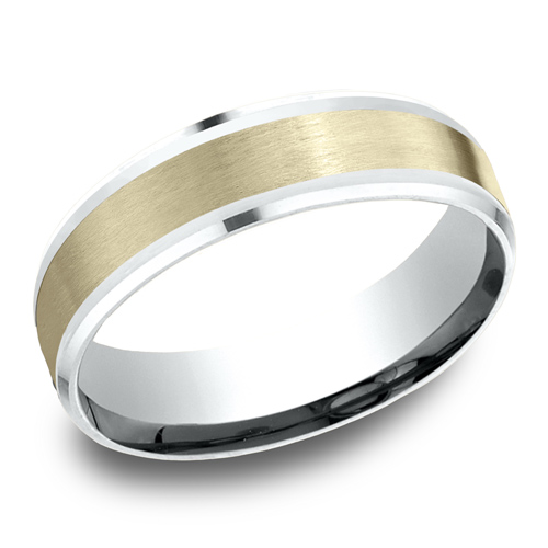 14kt White and Yellow Gold 6mm Satin Wedding Band with Beveled Edges