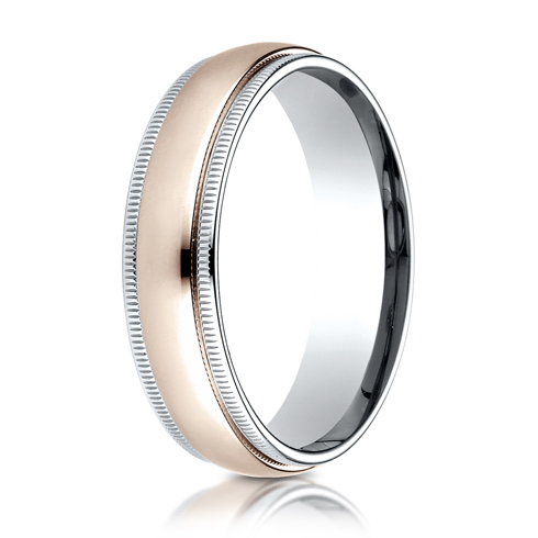 14kt White and Rose Gold 6mm Wedding Band with Milgrain