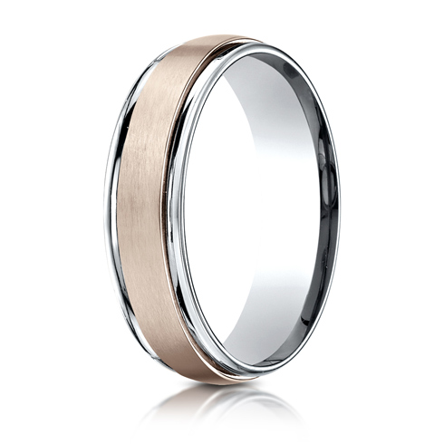 6mm 14kt White and Rose Gold Wedding Band with Satin Finish