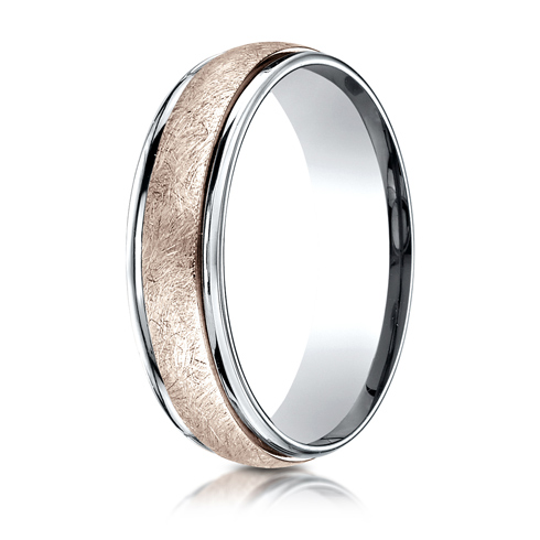 14kt White and Rose Gold Wedding Band with Swirled Spin Finish 6mm