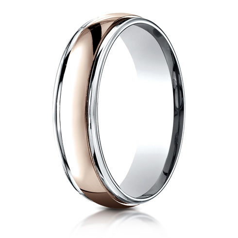 6mm 14kt White and Rose Gold Wedding Band with Domed Center