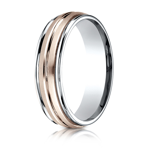 6mm 14kt White and Rose Gold Wedding Band with Center Cut