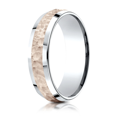 6mm 14kt White and Rose Gold Beveled Hammered Wedding Band