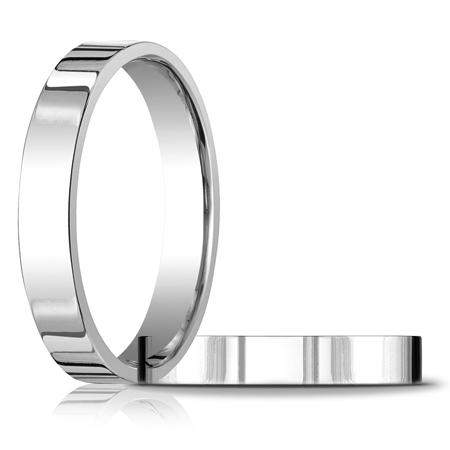 14kt White Gold 4mm Flat Comfort Fit Wedding Band