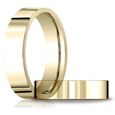 14k Yellow Gold 6mm Flat Comfort Fit Wedding Band