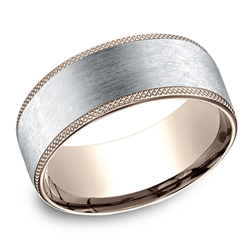 14kt White and Rose Gold 8mm Wedding Band with Knurled Edges