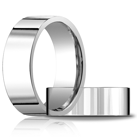 8mm Flat Comfort Fit Band - 14k White Gold