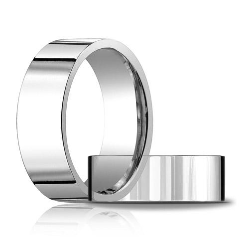 Platinum 8mm Comfort Fit Flat Wedding Band