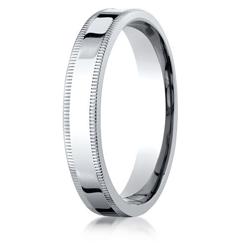 Platinum 4mm Milgrain Flat Comfort Fit Wedding Band