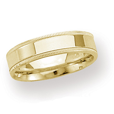 14kt Yellow Gold 4mm Milgrain Comfort Fit Wedding Band