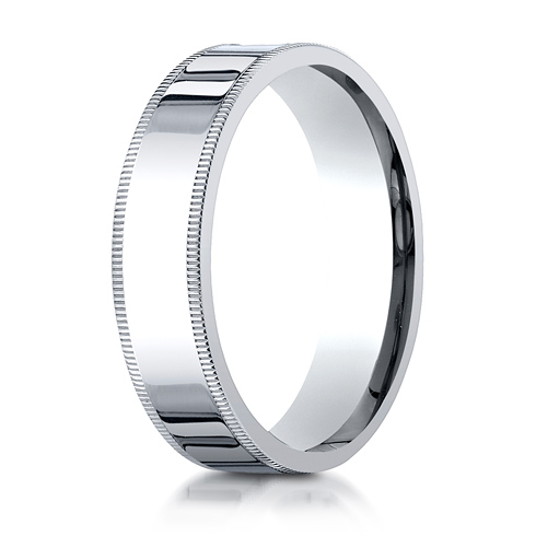 Platinum 6mm Milgrain Comfort Fit Wedding Band