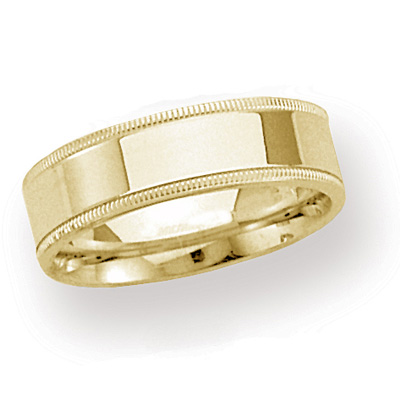 14kt Yellow Gold 6mm Milgrain Comfort Fit Wedding Band