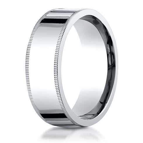 14kt White Gold 8mm Milgrain Comfort Fit Wedding Band