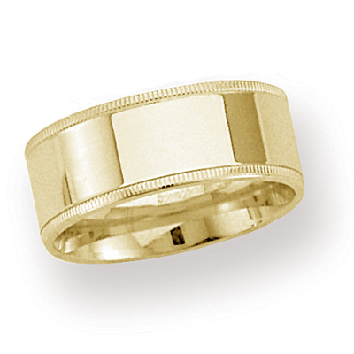 14kt Yellow Gold 8mm Milgrain Comfort Fit Wedding Band