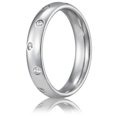 Platinum 1/4 CT Diamond 4mm Wedding Band