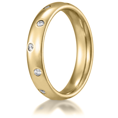 14k Yellow Gold 1/4 CT Diamond Staggered 4mm Wedding Band