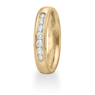 14k Yellow Gold 1/4 CT Diamond 4mm Milgrain Wedding Band