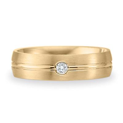 .08 CT Diamond Band 6mm - 14k Yellow Gold