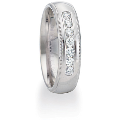 2/5 CT Diamond Platinum Band 6mm