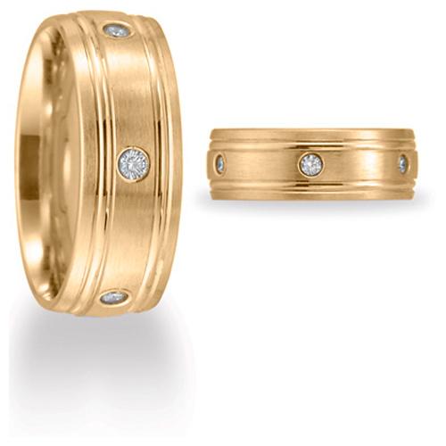 Benchmark 1/4 CT Diamond Band 8mm - 14k Yellow Gold