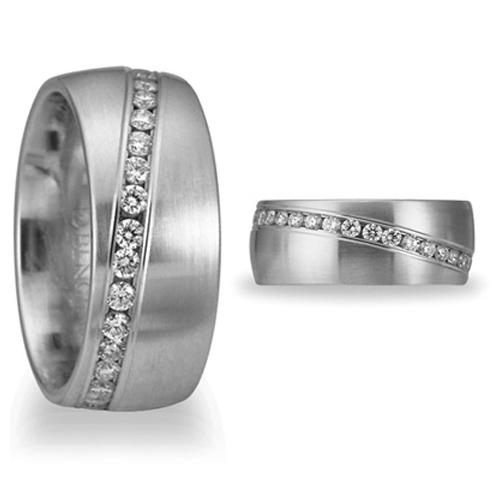3/4 CT Diamond Platinum Band 8mm