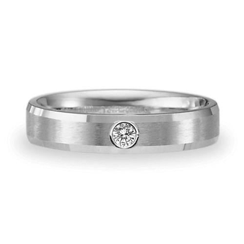 14kt White Gold .06 CT Diamond Beveled 4mm Wedding Band