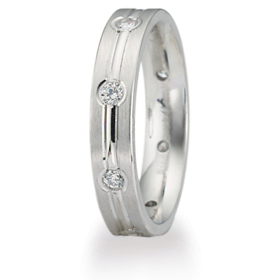 1/3 ct Diamond Wedding Band with Center Groove 4mm 14k White Gold