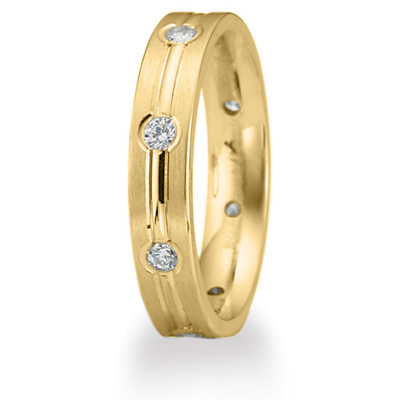 1/3 ct Diamond Wedding Band with Center Groove 4mm 14k Yellow Gold