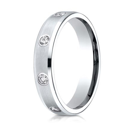 1/3 ct Diamond Platinum 4mm Satin Wedding Band