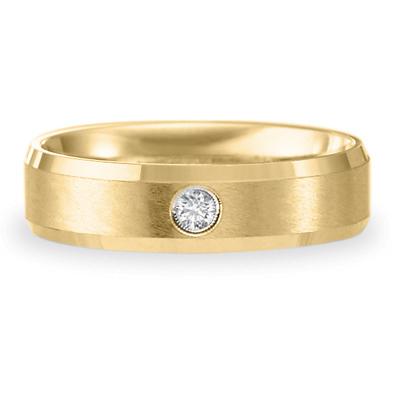14k Yellow Gold 6mm .08 CT Diamond Wedding Band
