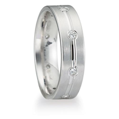 1/3 ct Diamond Platinum Wedding Band 6mm with Center Groove