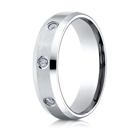 1/3 ct Diamond Interval Platinum 6mm Band with Beveled Edges