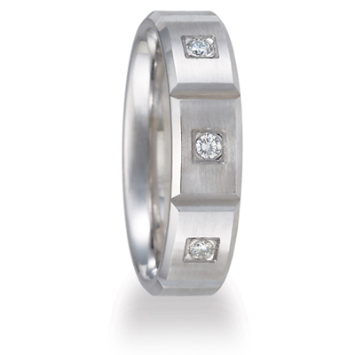 1/3 ct Diamond Platinum Wedding Band 6mm with Panels