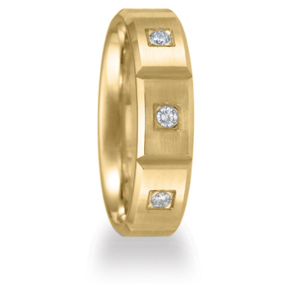 1/3 CT Diamond Wedding Band with Panels 6mm 14k Yellow Gold