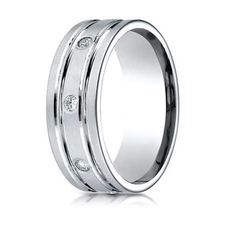 1/3 CT Diamond Platinum 8mm Wedding Band