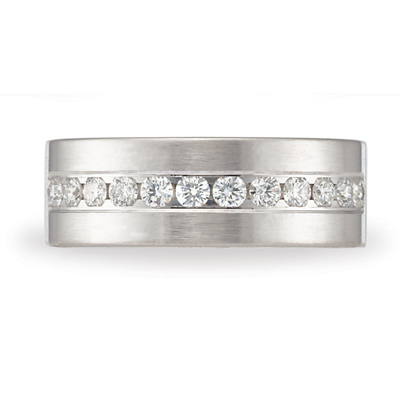 3/4 CT Diamond Platinum Band 8mm