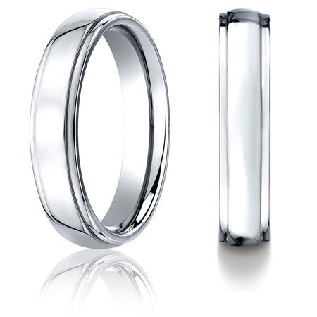 Cobalt Chrome 5mm Wedding Band with Step Down Edges