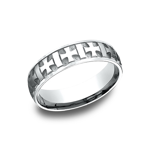 14k White Gold 6mm Wedding Band with Iron Crosses