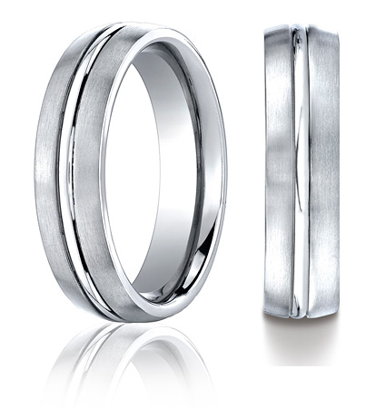 Cobalt Chrome 6mm Satin Wedding Band with Polished Center