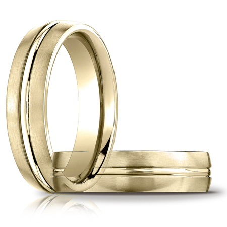 14kt Yellow Gold 6mm Satin Band with Polished Center