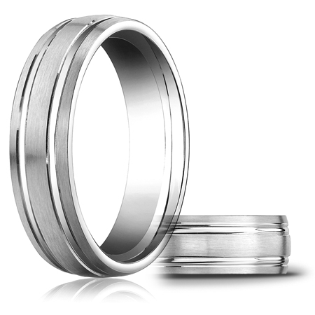 Platinum 6mm Satin Wedding Band with 2 Ridges