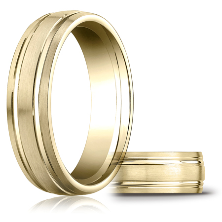 14kt Yellow Gold 6mm Satin Band with 2 Ridges