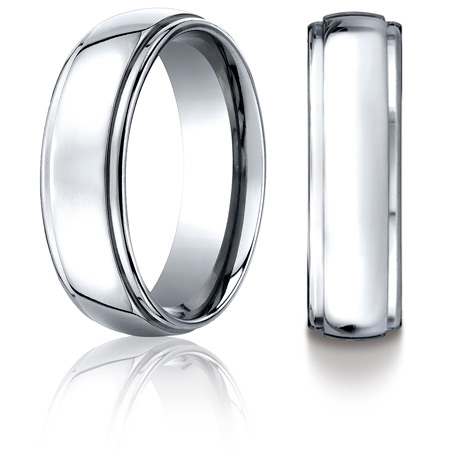 Cobalt Chrome 7mm Wedding Band with Step Down Edges