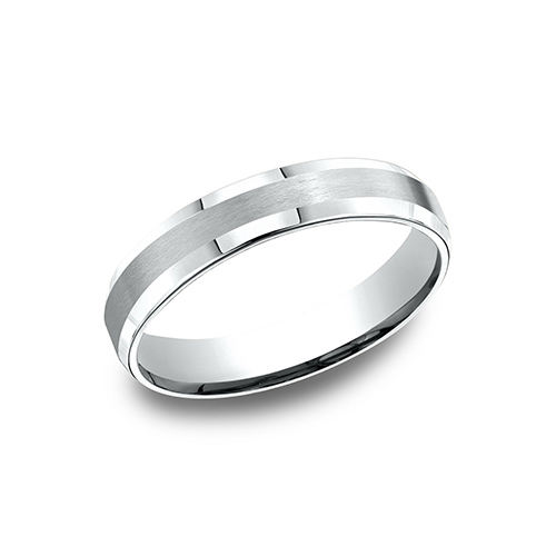 14kt White Gold 4mm Comfort Fit Satin Beveled Wedding Band