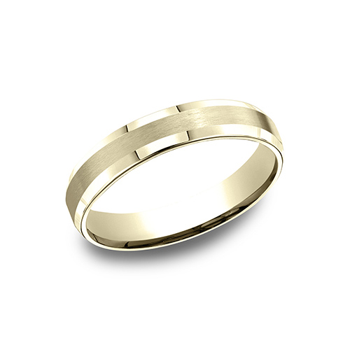 14kt Yellow Gold 4mm Comfort Fit Satin Beveled Wedding Band