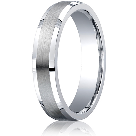 Argentium Silver 5mm Comfort-Fit Satin Beveled Edge Band