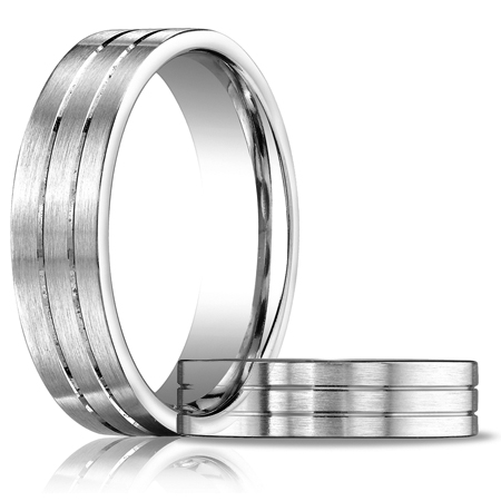 6mm 14k White Gold Wedding Band with Grooves and Satin Finish