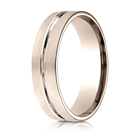 6mm 14kt Rose Gold Beveled Wedding Band with Center Cut