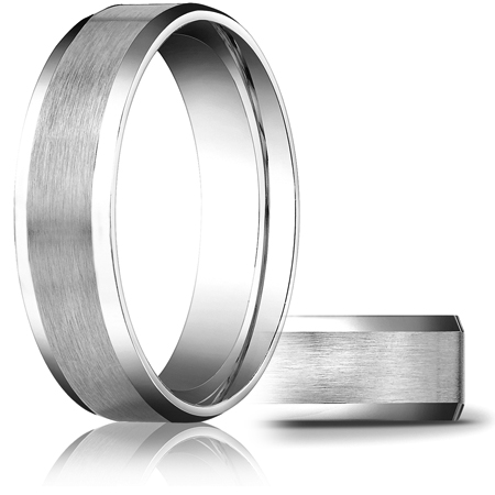 14kt White Gold 6mm Comfort Fit Beveled Band with Satin Finish